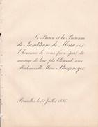 BRUXELLES Mariage 1886 Clément De JAMBLINNE De MEUX Et Marie SLINGENEYER Les 2 Faire-part échangés - Mariage