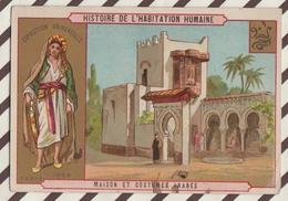 7AJ196 CHROMO HISTOIRE DE L'HABITATION HUMAINE MAISON ET COSTUMES ARABES 2 SCANS - Histoire