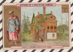 7AJ197 CHROMO HISTOIRE DE L'HABITATION HUMAINE MAISON ET COSTUMES RUSSES AU XV SIECLE 2 SCANS - Histoire