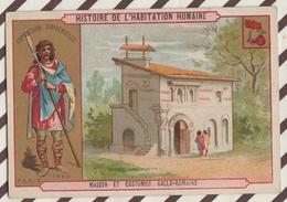 7AJ200 CHROMO HISTOIRE DE L'HABITATION HUMAINE MAISON ET COSTUMES GALLO ROMAINS 2 SCANS - Histoire