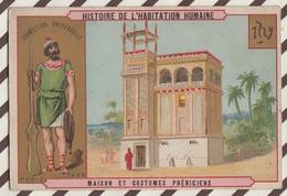 7AJ204 CHROMO HISTOIRE DE L'HABITATION HUMAINE MAISON ET COSTUMES  PHENICIENS 2 SCANS - Histoire
