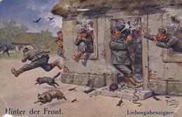 AK Deutsche Soldaten Mit Zigarre - Hinter Der Front - Liebesgabenzigarre - Humor - Feldpost 1916 (29664) - Humor