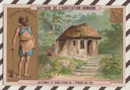 7AJ209 CHROMO HISTOIRE DE L'HABITATION HUMAINE  COSTUMES ET HABITATION DE L'EPOQUE DU FER 2 SCANS - Histoire