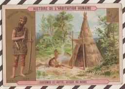 7AJ211 CHROMO HISTOIRE DE L'HABITATION HUMAINE  COSTUMES ET HUTTE APOQUE DU RENNE 2 SCANS - Histoire
