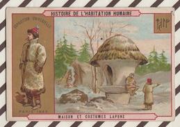 7AJ215 CHROMO HISTOIRE DE L'HABITATION HUMAINE MAISON ET  COSTUMES LAPONS 2 SCANS - Histoire