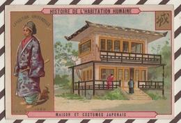 7AJ217 CHROMO HISTOIRE DE L'HABITATION HUMAINE MAISON ET  COSTUMES JAPONAIS 2 SCANS - Histoire