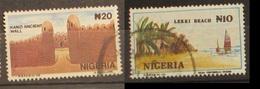 Nigeria 1990 Kano Ancient Wall And 1992 Lekki Beach Sails - Nigeria (1961-...)
