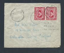 Egypt 1937 British Forces Mail To Surrey England , 2 X 10 Mil Army Post Adhesive - Covers & Documents