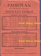Affiche Ancienne - Fahrplan - Ligne De Chemin De Fer NOVEANT / GORZE - 1914 - Metz / Pagny Sur Moselle - Thionville - Affiches
