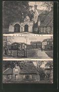 AK Niebüll, Bahnhofs-Platz, Kirche, Friesen-Haus - Germania