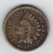USA , One Cent,  Indian Head, 1859 Used,  See Scans. - Émissions Fédérales