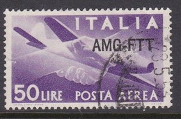 Trieste Allied Military Government Air Mail A 22 1949 Democratica 50 Lire Violet  Used - 7. Trieste