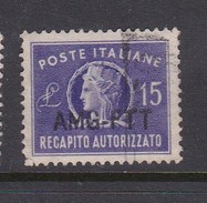 Trieste Allied Military Government Concessional Letter Post CL 3 1949 15 L Violet Used - 7. Trieste