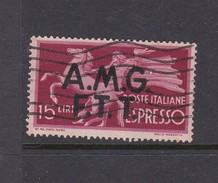 Trieste Allied Military Government Express Letter Stamps E 1 1947 Democratica 15 Lire Red Used - 7. Trieste
