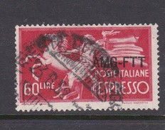 Trieste Allied Military Government Express Letter Stamps E 6 1950 Democratica 60 Lire Red Used - 7. Trieste
