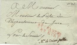 """1810-  EMPIRE - Franchise """"Mtre Du Trésor Public  """" Signé Par Le Ministre  Mollien   Pour Lons Le Saunier - Marcophilie (Lettres)"""