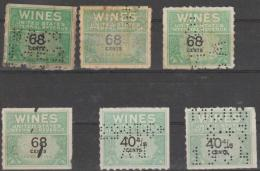 -   USA - Six Wine Internal Revenue Stamps. Includes Perfins - Fiscale Zegels