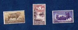Espana Spain 1966 Set Of Three BULLFIGHTING The National Sport Of Spain Mint-No Hing-Xtra Fine - 1850-68 Royaume: Isabelle II