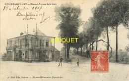 59 Gouzeaucourt, Place Et Avenue De La Gare, Affranchie 1907 - France