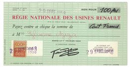 1958 CHEQUE REGIE NATIONALE DES USINES RENAULT A SYLVIANE AZIZA TIMBRE COOP UNICOOP 50 FR - Advertising