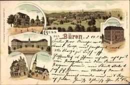 Lithographie Büren In Westfalen, Kaserne, Lehrerseminar, Taubstummen Institut, Stadtkirche - Deutschland