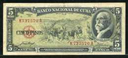 347-Cuba Billet De 5 Pesos 1958 K737A - Cuba