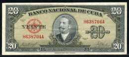 347-Cuba Billet De 20 Pesos 1958 H638A - Cuba