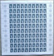 FRANCE 1977  FEUILLE COMPLETE DE 100 TIMBRES SABINE DE GANDON  0,01 Centime Gris Foncé  1962 ** - Feuilles Complètes