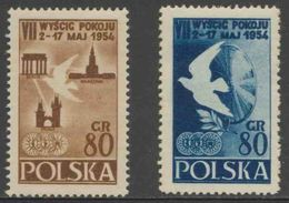 Poland Polska Polen 1954 Mi 845 /6 YT 747 /8 ** 7th Int. Peace Cycle Race Warsaw-Berlin-Prague/ Radfernfahrt Für Frieden - Wielrennen