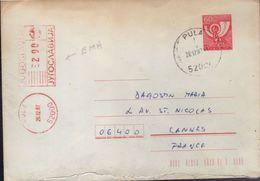 Lettre Entier 60 D Avec Complèment Mécanique Rouge De 2.90 PULA 26.I2.87 - Entiers Postaux