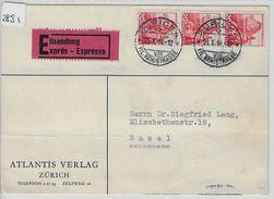 1944 San Salvatore 215y/327y Eilsendung Expres Von Zürich To Basel (Atlantis Verlag) 23.X.44 - Schweiz
