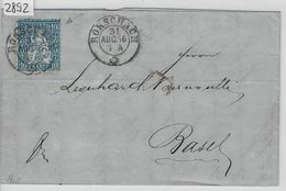 18662 Sitzende Helvetia/Helvétie Assise Nr. 31/23 Rorschach To Basel Bahnstempel: Chur-St. Gallen 31. Aug. 66 - 1862-1881 Sitzende Helvetia (gezähnt)