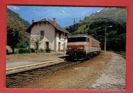 MERENS LES VALS 1989 LIGNE TOULOUSE LA TOUR DE CAROL TRAIN EN GARE CARTE EN TRES BON ETAT - Autres Communes