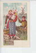 RT29.245  CACAO BENSDORP AMSTERDAM.PUBLICITE.PECHEUR A LA LIGNE FEMME ENFANT.MOULIN A VENT - Werbepostkarten
