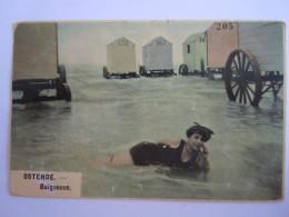 Oostende Ostende Baigneuse Dans La Mer Cabines Circulée Gelopen 1913 - Oostende