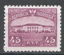 Indonesia 1953, Scott #380 (MNG) Post Office, Bureau De Poste - Indonésie