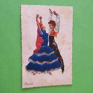 Carte Brodée - Madrid - Couple De Danseurs Espagnole - Embroidered