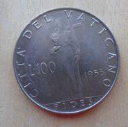 100 LIRE DEL VATICANO 1955 DI PIO XII° - - Vaticano
