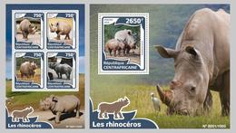2016 Central African Republic, Rhinos, S/sheet+sheet, MNH - Rhinozerosse