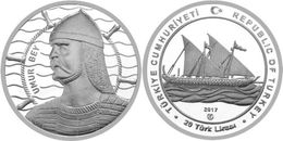 AC - UMUR BEY SAILOR 1308 - 1348 SHIPS AND DISCOVERER SERIES #8 COMMEMORATIVE SILVER COIN TURKEY 2017 PROOF UNCIRCULATED - Turquia