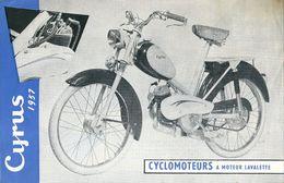 Prospectus Cyclomoteurs à Moteurs LAVALETTE Modèles 1957 Cyrus Types BG1 BG2 GG4 - Advertising