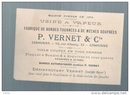Viticulture - Fabrique De Bondes à Barrique - Carte De Visite Usine à Vapeur VERNET LIBOURNE - Autres Collections