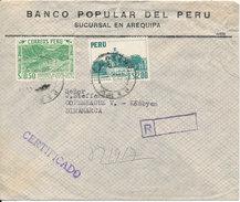 Peru Registered Air Mail Cover Sent To Denmark - Peru