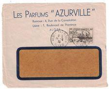 1939 - LETTRE (devant) AFFRANCHIE À 90c D'ALGÉRIE ENTETE LES PARFUMS AZURVILLE CAD ALGER BAB EL OUED EXPOSITION NEW YORK - Argelia (1924-1962)