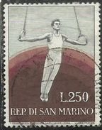 REPUBBLICA DI SAN MARINO 1954 SPORT PROPAGANDA SPORTIVA 2a L. 250 USATO USED OBLITERE' - San Marino