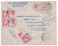 1947 - LETTRE (devant) RECOMMANDÉE AFFRANCHIE À 13F50 MAROC CAD TANGER CHERIFIEN POUR PARIS WAGONS LITS PAR AVION - Cartas