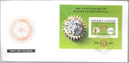 90TH ANNIVERSARY OF ROTARY INTERNATIONAL SIERRA LEONE YEAR 1995 SPECIAL COVER ENVELOPE - Rotary, Lions Club