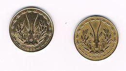 ) WEST AFRICAN STATES 2 X 5 FRANCS  1989/1997 - Centrafricaine (République)