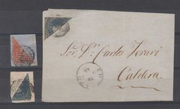 Chile 1868 3 Fragments Columbus Bisect Stamps - Chile