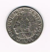 )  MEXICO  50  CENTAVOS  1975 - Mexique